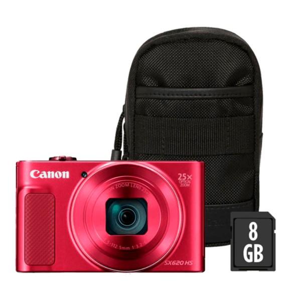 Canon powershot sx620hs rojo kit cámara compacta 20.2mp full hd 25x gran angular digic4+ wifi nfc bolsa sd 8gb