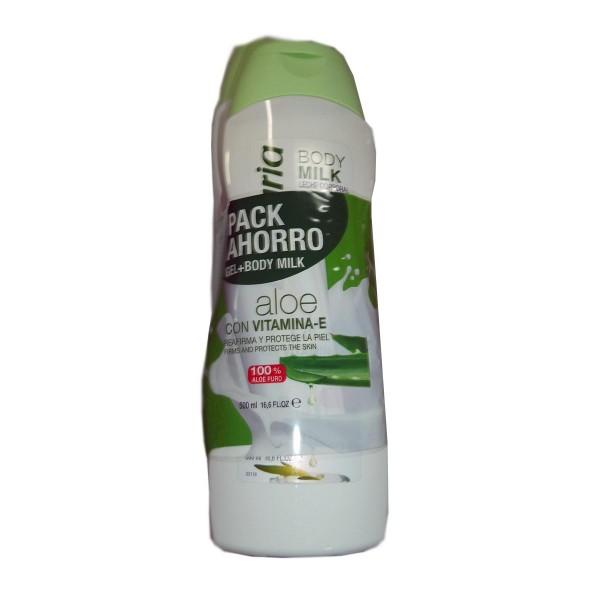 Babaria aloe vera gel de baño 1100ml + leche corporal 500ml